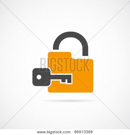 padlock with key icon flat