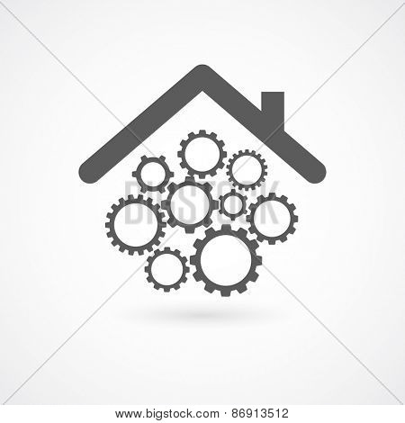 gears wheel cogs under home roof concept