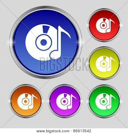 Cd Or Dvd Icon Sign. Round Symbol On Bright Colourful Buttons. Vector