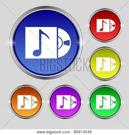 Cd Player Icon Sign. Round Symbol On Bright Colourful Buttons. Vector
