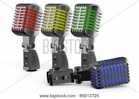 Colored Retro Microphones
