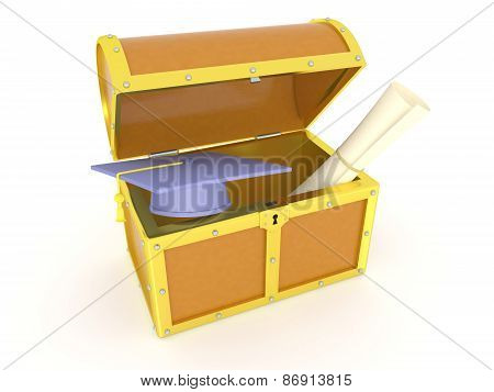 3D Treasure Chest with Diploma and Graduation Cap