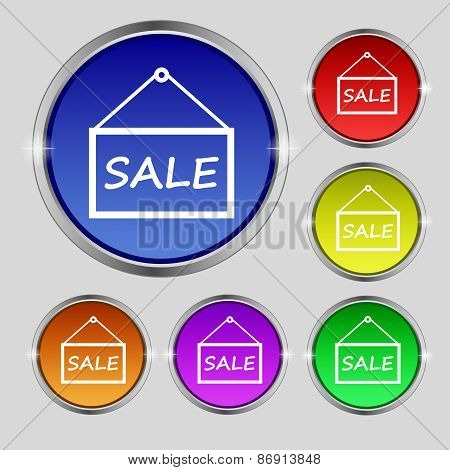 Sale Tag Icon Sign. Round Symbol On Bright Colourful Buttons. Vector