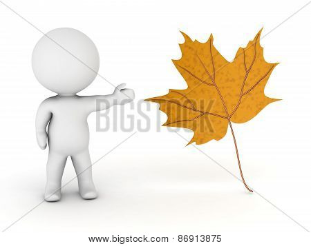 3D Character Showing an Autumn Leaf