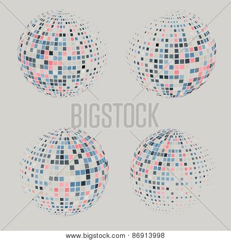 Collection of halftone sphere vector logo template