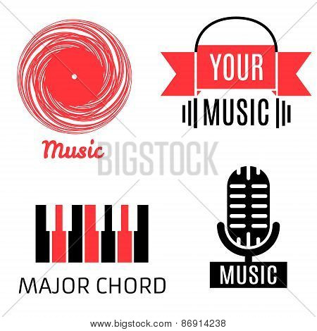 Set of four music logotypes (record,microphone,piano,headphones)