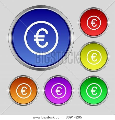 Euro Icon Sign. Round Symbol On Bright Colourful Buttons. Vector