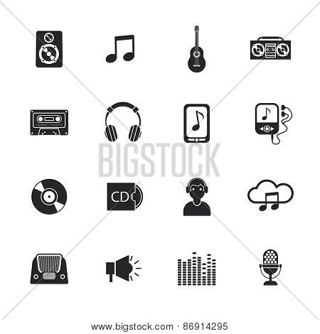 Music icons set mobile black