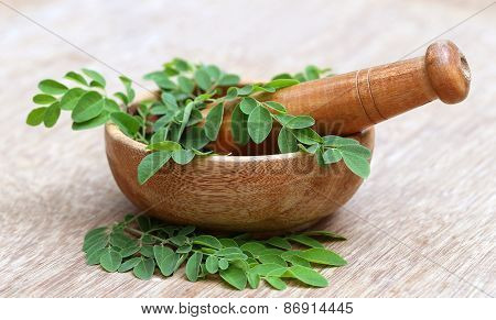 Moringa Leaves And Mortar Pestle