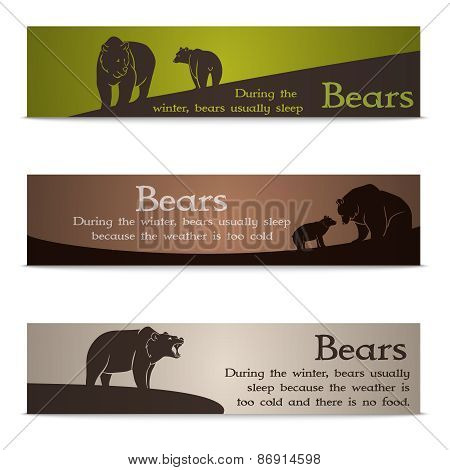 Set of bear banners