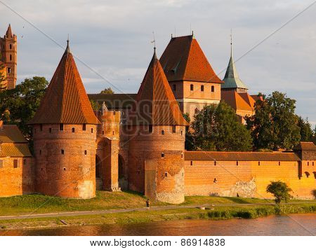 Two fortification towers at Nogat River in Malbork