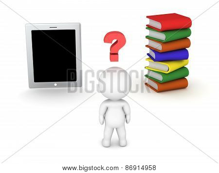 3D Character with question symbol - tablet versus books