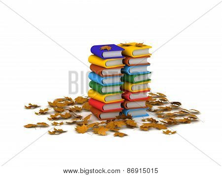 Stack of 3D Books and Autumn Leaves