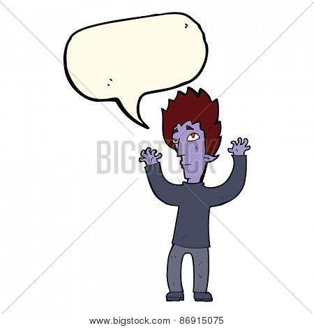 cartoon vampire giving up with speech bubble