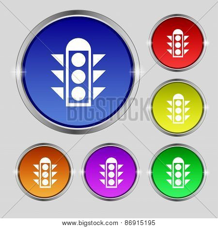 Traffic Light Signal Icon Sign. Round Symbol On Bright Colourful Buttons. Vector