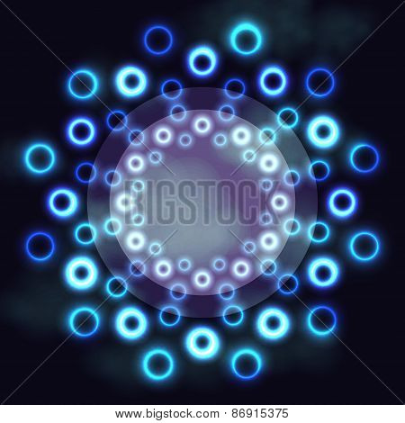 Dark futuristic round frame with blue neon cosmic rings