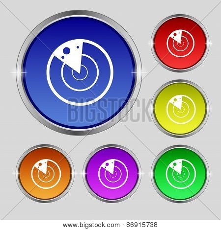 Radar Icon Sign. Round Symbol On Bright Colourful Buttons. Vector