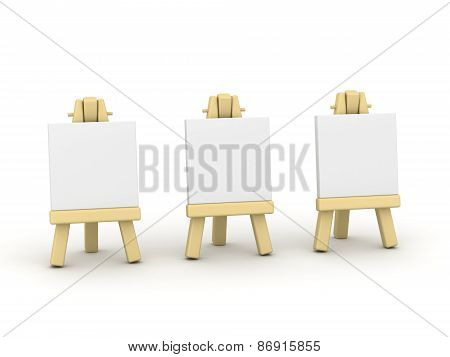 Three Small 3D Artsy Easels