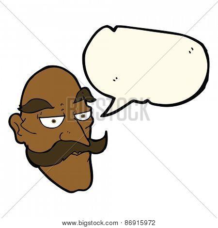 cartoon old man face with speech bubble