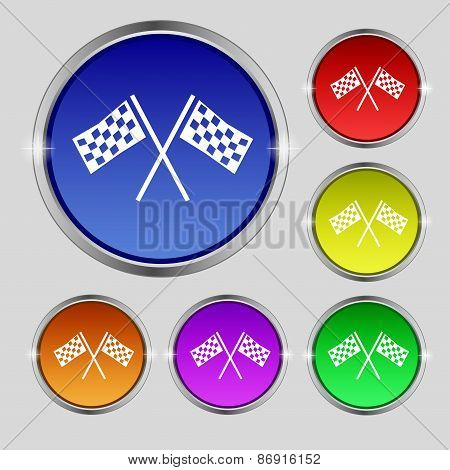 Race Flag Finish Icon Sign. Round Symbol On Bright Colourful Buttons. Vector