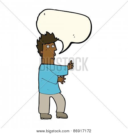 cartoon nervous man waving with speech bubble