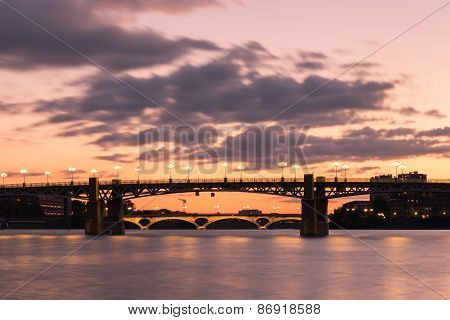 Pont Saint-pierre And Pont Des Catalans At Sundown