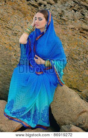 Beautiful Girl In Traditional Indian Sari