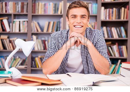 Enjoying His Time In Library.