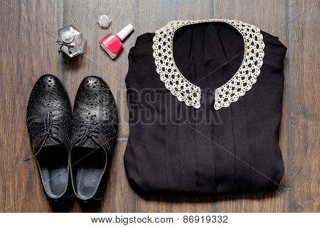 Dress On A Wooden Background Dress Nail Polish