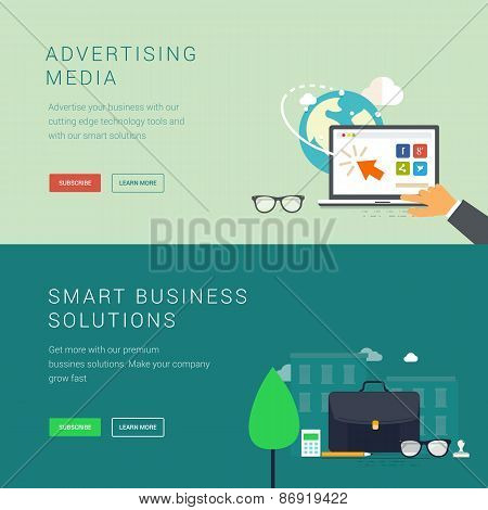 Advertising media and smart business solution concept