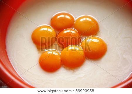 Raw Eggs. Yellow Yolk As Food Ingredients.
