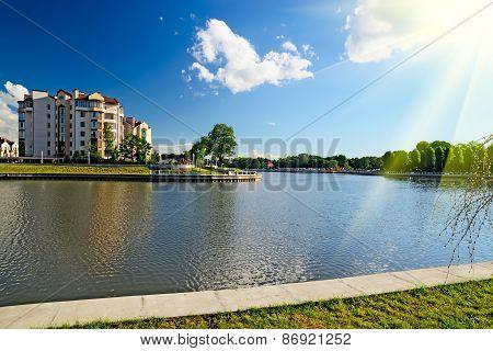 Embankment Of Lake Verhnee (former Oberteich). Kaliningrad (former Koenigsberg), Russia
