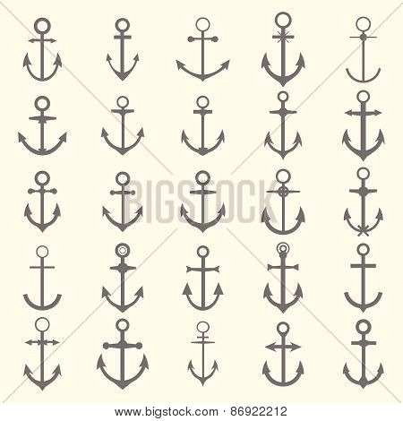 Big Set Of Anchors. Anchor Symbols Or Logo Template