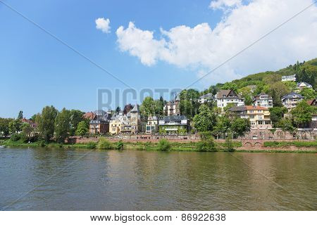 Quay Of Neckar River In Summer