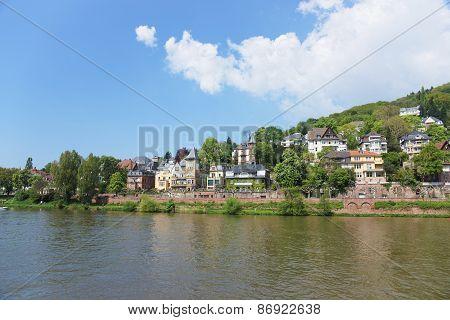 Quay Of Neckar River In Summer