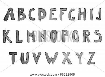 Hand Drawn Watercolor Alphabet. Alphabet Letters