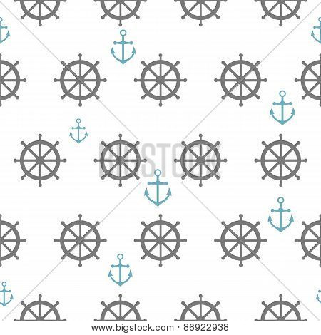 Seamless Pattern With Gray Rudders And Blue Anchors. Nautical Theme