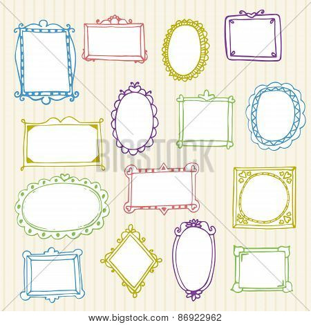 Set Of Hand Drawn Frames. Hand Drawn Design Elements
