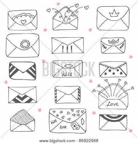 Set Of Hand Drawn Mailing Envelopes. Communication Icon In Sketch Style