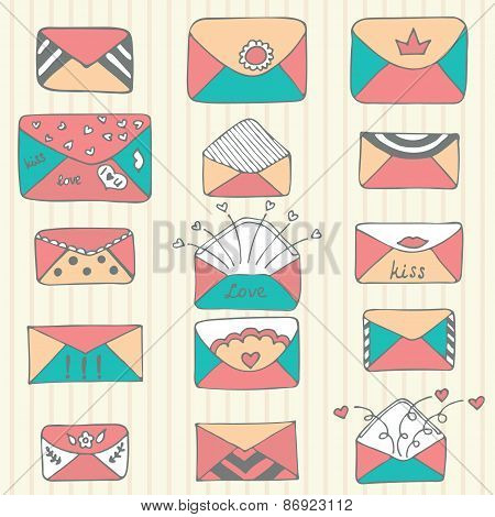 Set Of Hand Drawn Mailing Envelopes. Sketch Style