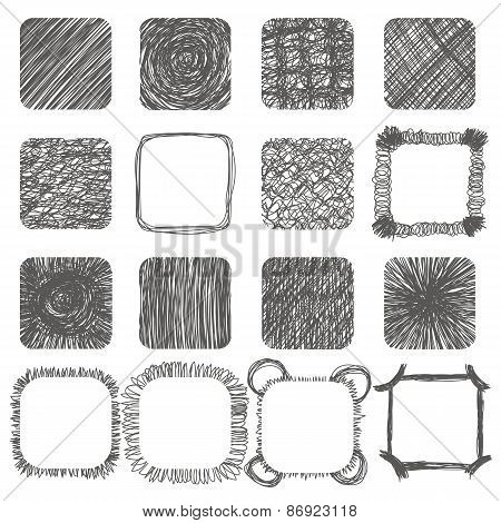 Set Of Hand Drawn Scribble Shapes. Vector Design Elements. Lines Textures, Hatching, Scratch