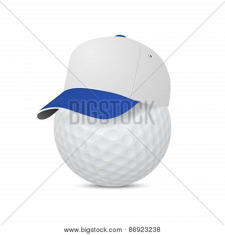 Cap On A Golf Ball. Vector Eps10 Illustration.