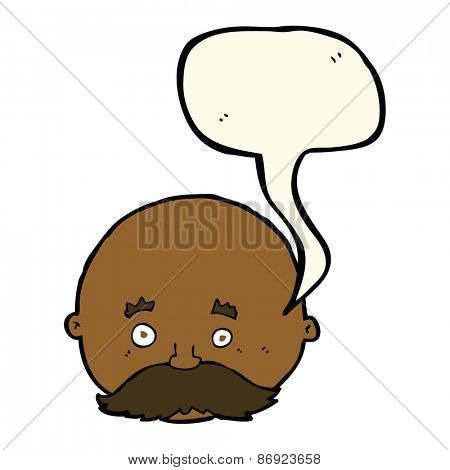 cartoon bald man with mustache with speech bubble