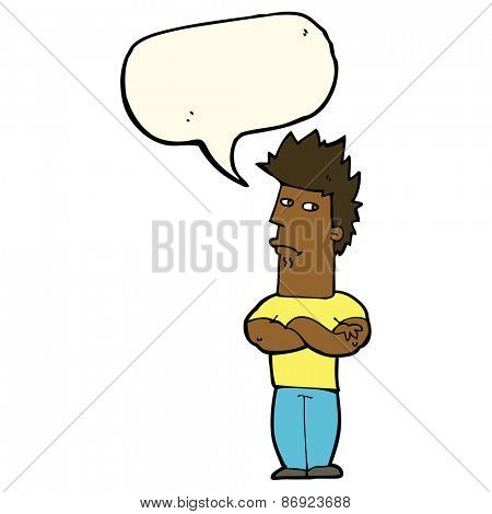 cartoon man sulking with speech bubble