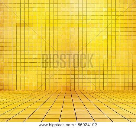 golden mosaic room, gold background. vector.