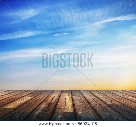 blue sunset sky and wood floor. vector.