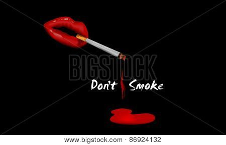 Red lips with cigarette on black background for No Smoking Day concept.