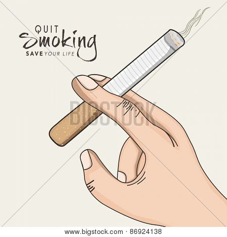 No Smoking Day poster, banner or flyer design with human hand holding a cigarette on grey background.