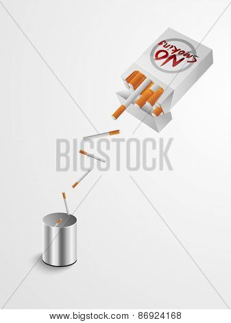 Quit smoking concept with Cigarettes dumping from box t dustbin.