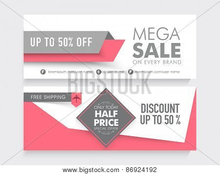 Mega Sale with 50% discount and free shipping offer, two sided website header or banner set.